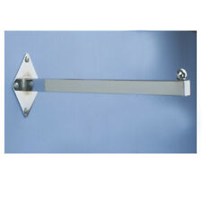 """12"""" Wall Mount Faceout Straight Square Tubing Tube Fixture - Chrome - 5 Pieces"""