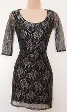 MISO BLACK GOLD FLORAL LACE SLIP IN PENCIL BODYCON PARTY TUBE RARE DRESS 10 S