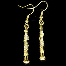 w Swarovski Crystal ~Clarinet Woodwind Instrument Music Musical Gold PL Earrings