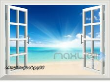 Sunrise Beach 3D Window View Removable Wall Sticker Decal Home decor Room Mural