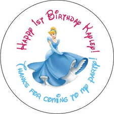 12 princess cinderella stickers Birthday Party loot bag 2.5 Inch Personalized