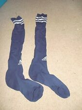 ADIDAS SOCCER SOCKS NAVY BLUE WHITE MEDIUM 1 PAIR USED