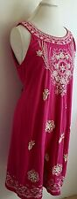 Charter Club Womens Dress Size Medium Hot Pink Embellished Beaded Embroidered