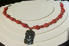 NEW, WOMEN'S STERLING SILVER AND CORAL NECKLACE WITH CARVED BONE PENDANT