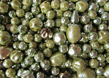 25g Czech Glass Pearl Beads Olive Green Mix