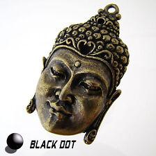 Buddha Schmuck Anhänger Groß Metall Matt Bronze Buddhakopf 50x30mm