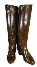 Bally women's made in Italy brown leather knee high boots round toe E Sz 6.5 B