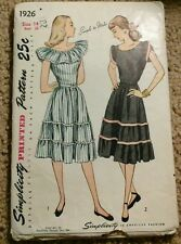 VINTAGE SIMPLICITY 1926 SEWING DRESS PATTERN SZ 14 1940S CUT RETRO ROCKABILLY