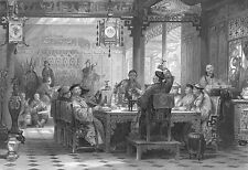 China DINNER PARTY IN RICH MANDARIN HOUSE MANSION ~ Old 1843 Art Print Engraving