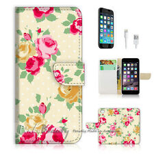 "iPhone 6 (4.7"") Print Flip Wallet Case Cover! Vintage Flower Pattern P1435"