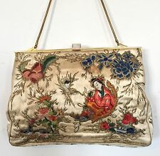 Vintage Art Deco Embroidered Evening Bag Handbag Purse 1920s 1930s Antique Asian