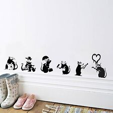 BANKSY RAT COLLECTION WALL DECAL STICKER TRANSFER FOR LOUNGE HALLWAY KITCHEN