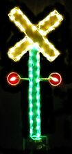 Christmas Railroad Crossing Sign Outdoor LED Lighted Decoration Steel Wireframe