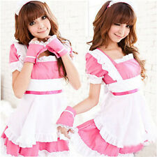 Hallowmas Cosplay Costume Pink Ruffle sexy servant Maid Outfits Dress Set apron