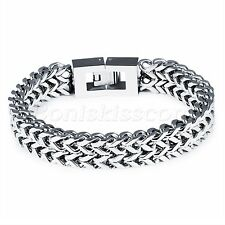 Punk Rock Heavy Silver Tone Stainless Steel Bracelet Chain Wristband Men's Gift