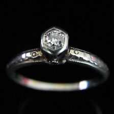 Art Deco Old Euro Cut 18k White Gold Promise Engagement Ring Vintage Antique
