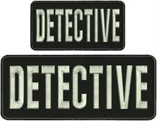 """""""Detective"""" embroidery patch 4x10 and 3x6 inches hook on  silver letters"""