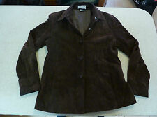 Women's ESPRIT Size M US/UK Leather Suede Jacket Brown Lined ExCon Ladies Old