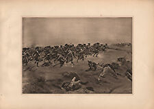 ANTIQUE MILITARY PRINT ~ BATTLE OF QUATRE BRAS (1815) BANDMANS SWORD RIFLE CORPS
