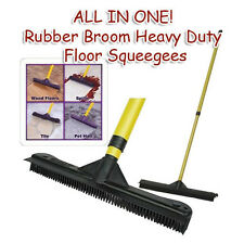ALL IN ONE Rubber Broom Heavy Duty Squeegees, Sweeps & Scrubs w/Telescoping pole