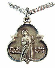 """St Jude Thaddeus Sterling Silver Trinity Symbol 7/8"""" Medal w/ 18"""" Chain USA Made"""