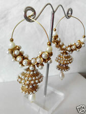 BOLLYWOOD MATT FINISH ANTIQUE POLISH GOLD TONE JHUMKI JHUMKA EARRINGS FAUX PEARL