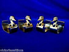 Collectible Set of 4 Brass/Gold Tarnish Resistent Metal Duck Shaped Napkin Rings