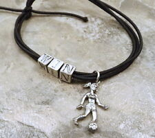 Black Stretch Cord *WIN* Bracelet with Girl Soccer Player Charm - 5459