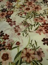 "Pretty Flower Floral JERSEY LYCRA Stretch Fabric Material 60""Width Sandy Maroon"