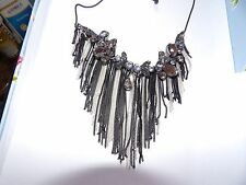 PRETTY MONOCHROME CRYSTAL BIB WITH FRINGE DETAIL NECKLACE BLACK CHAIN 434-8
