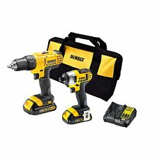 New DeWalt 18V Li-ion 2 Piece Cordless Drill And Impact Driver Kit DIY Trade