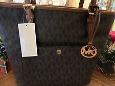 MICHAEL KORS BROWN SIGNATURE LARGE JET SET ITEM SNAP POCKET TOTE PURSE
