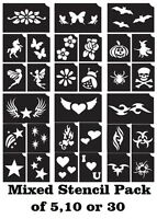 Mixed Stencil Pack Temporary tattoo glitter Henna Airbrush body art stickers