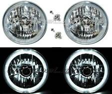 "7"" Halogen H4 Headlight Headlamp White LED Halo Angel Eyes Light Bulbs 12 Volt"
