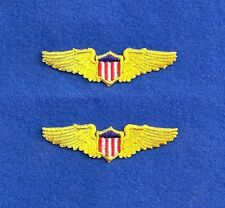PILOTS WINGS Aviation Airplane Aircraft Emblem Yellow Gold Patch Applique 2