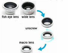 3 in 1 Fish Eye Wide Angle Macro Magnetic Lens Silver For All Type Of Smartphone