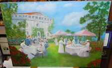 BILL AIKEN HIGH SOCIETY LUNCHOEN ON THE LAWN ORIGINAL OIL ON CANVAS PAINTING