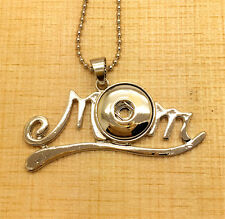 MOM Pendant Alloy Fit for Noosa Necklace Snap Chunk Button OC44