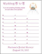 24 Personalized WEDDING A-Z Bridal Shower Game