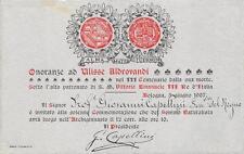 9791) BOLOGNA 1907 ONORANZE AD ULISSE ALDROVANDI INVITO ALLA COMMEMORAZIONE.