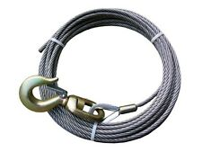 "IWRC 7/16"" x 100' Wrecker Crane, Rollback WINCH CABLE w/ SWIVEL HOOK -Steel Core"