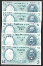Chile 50 PESOS 1981 P 151b UNC LOT X 5 PCS