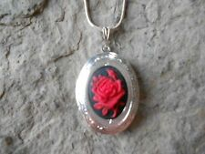 PRETTY CAMEO LOCKET NECKLACE!! RED ROSE- (ON BLACK)-.925 SILVER PLATED!! QUALITY