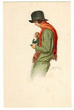 POSTCARD GERMAN ZEISS IKON CAMERA WOMAN PHOTOGRAPHER IN RED SCARF