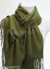 New Women's Solid Green 100% Cashmere Pashmina Soft SHAWL Scarf Stole WRAP