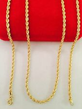 "18K Gold Mens Rope Chain Necklace 26"" inch Long"