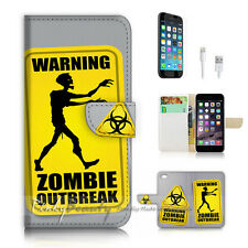 iPhone 6 6S Plus (5.5') Flip Wallet Case Cover P2335 Warning Zombie