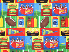 """13"""" REMNANT  GAME FOOTBALL TAILGATING  FOOD BURGERS SNACKS COTTON SPORTS FABRIC"""