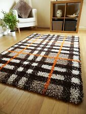 SMALL LARGE THICK MODERN SHAGGY PILE RUGS MODERN CHECK DESIGN LONG HALL RUNNERS