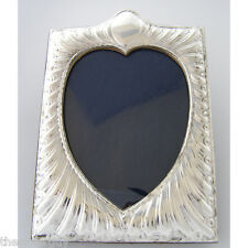 "BEAUTIFUL ART NOUVEAU SILVER PICTURE FRAME.  5"" x 3.75"" heart shaped sight area"